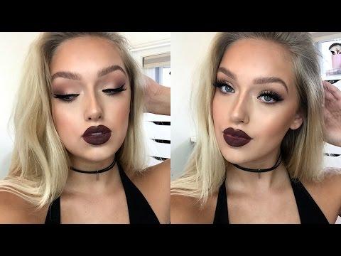 """Instagram """"Baddie"""" Makeup Tutorial- Matte Eyes, Dark Lips"""