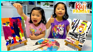 Painting DIY Mommy and Daddy Challenge with Emma and Kate!!
