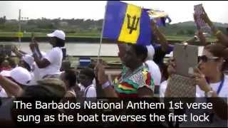 Panama Canal 100 anniversary Barbados through the Canal singing the National Anthem FULL DAY 3