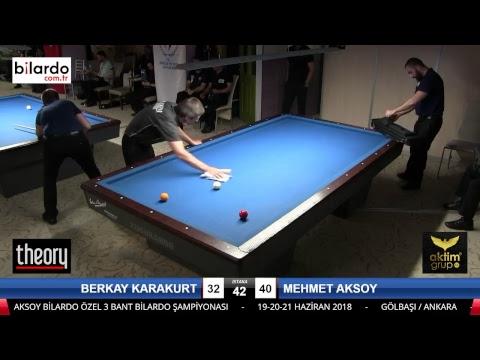 BERKAY KARAKURT & MEHMET AKSOY Bilardo Maçı - AKSOY BİLARDO 3 BANT TURNUVASI-3. Tur