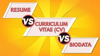 Resume vs Curriculum Vitae vs Biodata | Differences between a Resume, CV and Biodata - ANIMATED