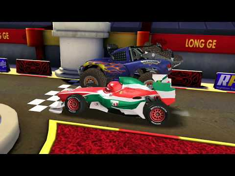 Disney PIXAR CARS Francesco Vs Lightning McQueen & Monster Car Track Racing Game