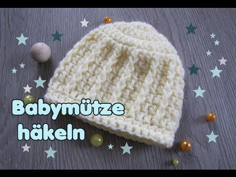 Baby Mütze häkeln - Beanie für Neugeborene  (0-3 Monate)
