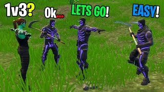 Ghoul Trooper takes on 1v3 against NEW Purple Skull Troopers in Playground! (INSANE BUILD BATTLES!)