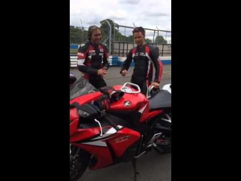 X-Men & Rocket Man James McAvoy thanks Ron Haslam for a pillion ride at Donington Park