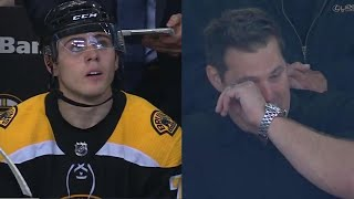 Jake DeBrusk scores first NHL goal, father Louie gets emotional watching in stands