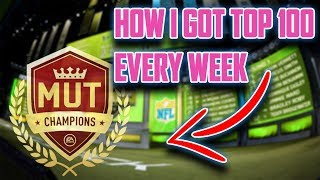 HOW I GOT TOP 100 IN WEEKEND LEAGUE EVERY WEEK BEING UNIQUE | MADDEN 18