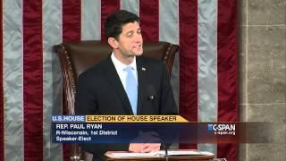 Newly-elected Speaker Paul Ryan (R-WI) addresses House of Representative (C-SPAN)