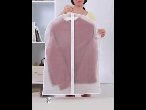 Чехол для одежды набор 5 шт на молнии из полупрозрачного РEVA пластика размер M 60 × 80 см SUIT BAGS белые (SВ-29169) Video #1