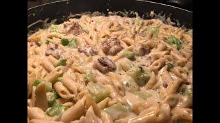 Dollar Tree 4 ingredients Alfredo Pasta Broccoli & Sausage | Southern Sassy Mama
