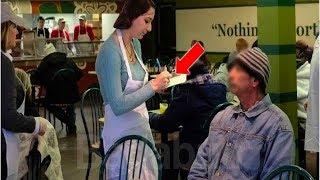 Diese Kellnerin bediente den Obdachlosen.Doch als sie herausfand wer er war brach sie in Tränen aus.