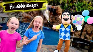 Hello Neighbor In the Dark Kidnaps Our Friends!! Scavenger Hunt for Party Balloons!