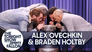 Alex Ovechkin, Braden Holtby & Triple Crown Jockey Mike Smith Drink from Stanley Cup - dooclip.me