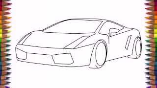 How to draw a car Lamborghini Gallardo easy step by step for kids and beginners