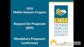 2019 Mobile Showers Program RFP Mandatory Proposers Conference