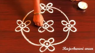 Simple Kolam Design With 6x2x2 Dots*Easy Rangoli with Dots 2018* Small Sankranthi Muggulu With Dots