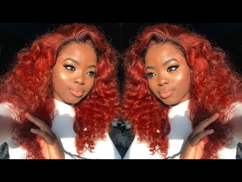 DIY Fiery Copper Lace Wig Transformation || Installing, Coloring & Styling ft. WowAfrican