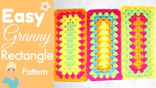 How To Crochet A Granny Rectangle - ELONGATED GRANNY SQUARE