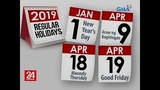 Mga holiday sa 2019, inanunsyo na ng palasyo