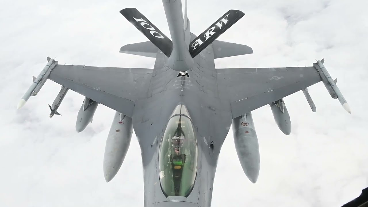 US Military News • U.S. F-16s & Royal Moroccan Air Force F-16s • Refueled Exercise • African Lion