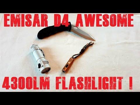 Emisar D4 v2 4300lm flashlight unbox review and test vs Rovyvon Aurora A2