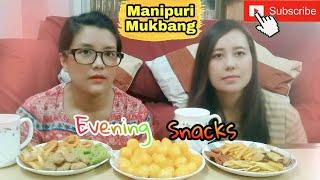 [16] Evening snacks with Tea  Manipuri girls - Manipuri Mukbang