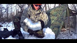 Heated Tarp Shelter in -3F / HIDDEN OVERNIGHT 2
