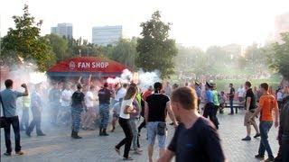Драка фанатов Шахтера и Металлурга З, впервые на Донбасс Арене! / brawl football fans