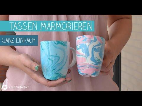 DIY Marmorieren - Marmoreffekt auf Tassen