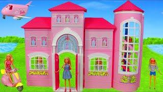 Barbie Dolls Unboxing: Dreamhouse Dollhouse w/ Bedroom, Shower, Bathroom & Sister Doll Toys for Kids