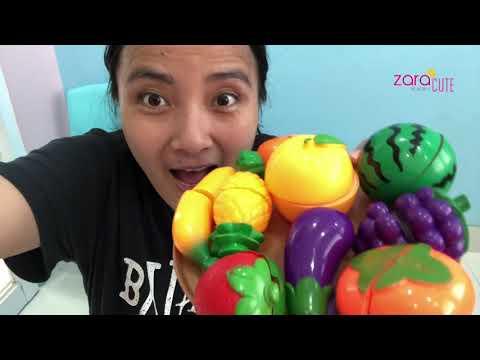 Belajar Nama Buah   Mainan Anak Fruit Cutting Toys   Zara Cute bermain Bersama Adik dan Mama
