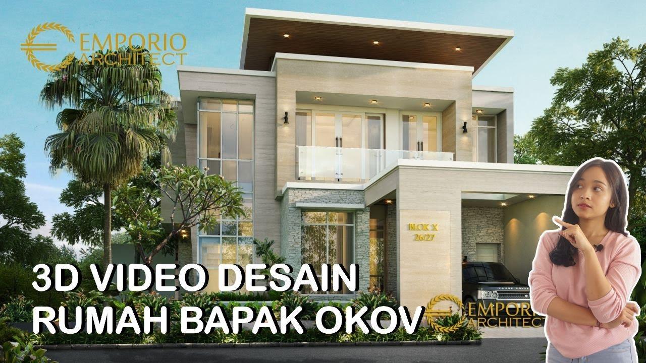 Video 3D Desain Rumah Modern Tropis 2 Lantai Bapak Okov di Palembang