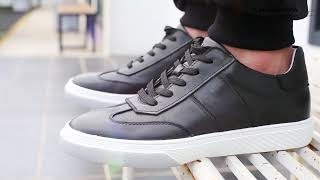 6CM / 2.36 Inches Taller - CHAMARIPA Casual Tall Men Shoes Black Leather Height Increasing Sneakers
