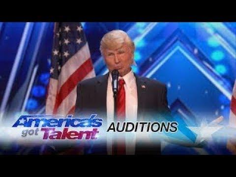 The Singing Trump  Presidential Impersonator Channels Bruno Mars   America's Got Talent 2017 (видео)