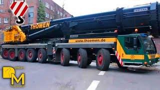 LIEBHERR CRANE LTM 1500-8.1 ARRIVING @ CONSTRUCTION SITE + ASSEMBLING THÖMEN HAMBURG