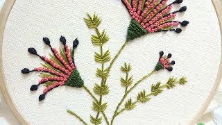 Hand Embroidery Of Flowers With French Knots,fly Stitch And Back Stitch
