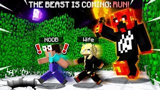 RUN FROM THE GIANT PRESTONPLAYZ IN MINECRAFT WITH MY WIFE! (MCPE)