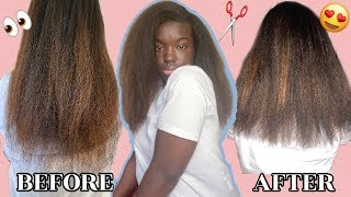 HOW I TRIM MY LONG NATURAL HAIR AT HOME: And Refreshing My Blowout || Vlogmas Day 7 Simone Nicole