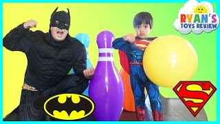 Batman vs Superman Giant Bowling Challenge Inflatable toys for kids Egg Surprise Monster Truck