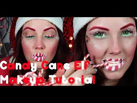 candy cane elf makeup tutorial merry christmas - Christmas Elf Makeup