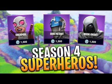 *NEW* SEASON 4 BATTLE PASS SUPERHERO THEMED SKINS! - Fortnite: Battle Royale