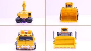 Excavators vs dump truck, mixer truck with LEGO Find Treasure Ghostbusters Tranformers