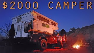 $2k BUDGET PALOMINO POP UP TRUCK CAMPER Ford F-250 7.3L Walk Through