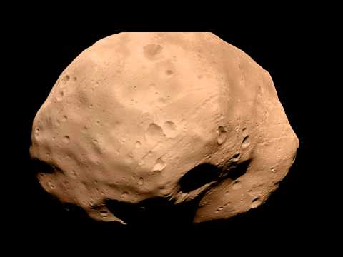 Animation of Martian moon Phobos made from five images taken by Mars Express spacecraft