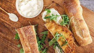 Pork Schnitzel Sandwich With Garlicky Mayo