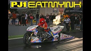 "Larry ""Spiderman"" McBride 5.61 World Record Top Fuel Motorcycle"