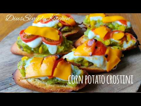 Potato Corn Crostini