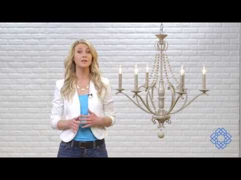 Video for Adele Silver Quartz Six-Light Chandelier with Wood Bead