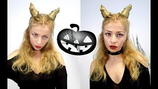 HALLOWEEN LOOK HAIRSTYLE EASY HAIR HORNS | Awesome Hairstyles ✔