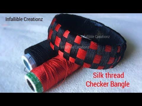 Silk thread checker model bangle | How to make silk thread weaved checker model bangle | Tutorial